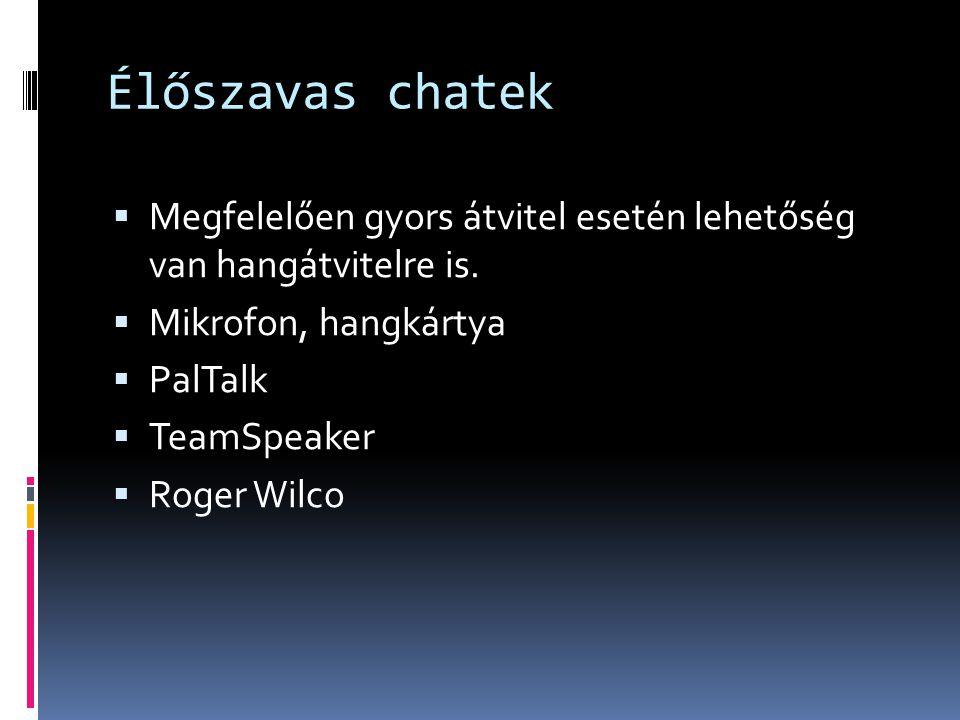 Élőszavas chatek Megfelelően gyors átvitel esetén lehetőség van hangátvitelre is. Mikrofon, hangkártya.