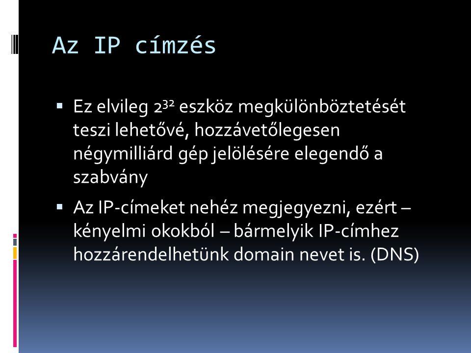 Az IP címzés Ez elvileg 232 eszköz megkülönböztetését teszi lehetővé, hozzávetőlegesen négymilliárd gép jelölésére elegendő a szabvány.