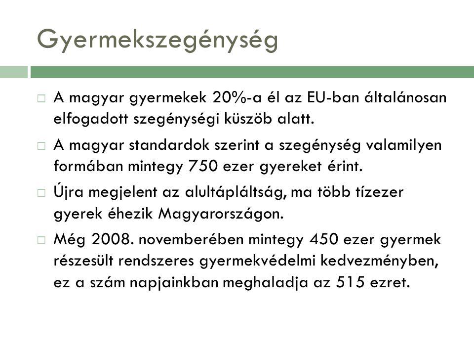 Gyermekszegénység A magyar gyermekek 20%-a él az EU-ban általánosan elfogadott szegénységi küszöb alatt.