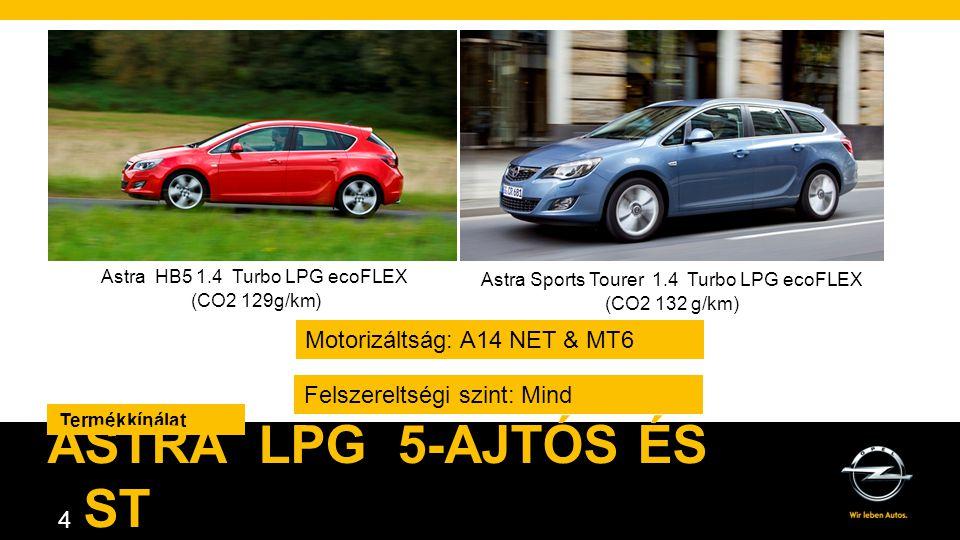 Astra LPG 5-ajtós és ST Motorizáltság: A14 NET & MT6