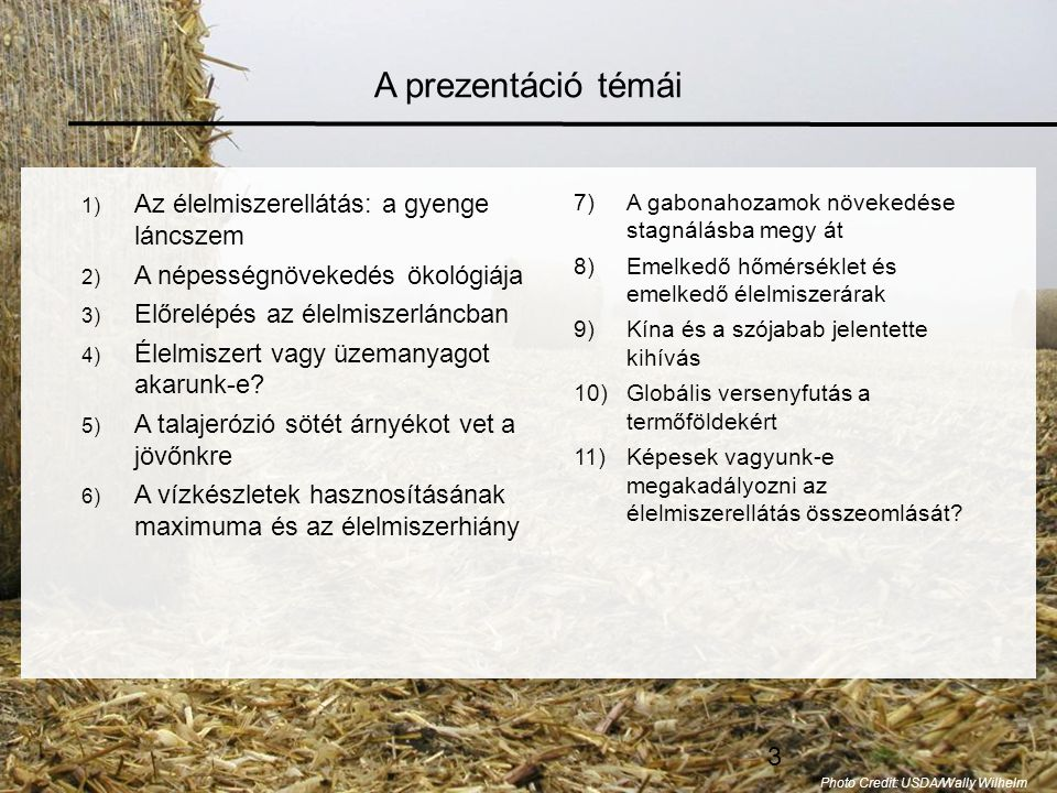 A prezentáció témái Az élelmiszerellátás: a gyenge láncszem
