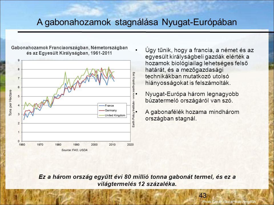 A gabonahozamok stagnálása Nyugat-Európában