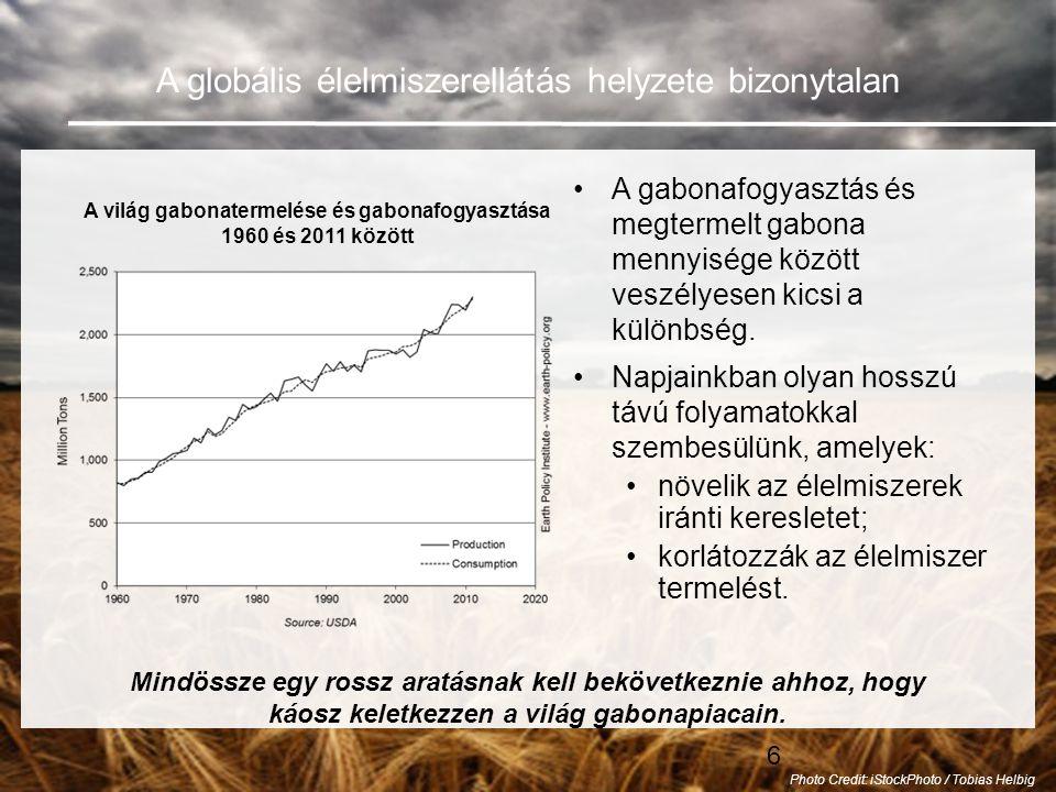 A világ gabonatermelése és gabonafogyasztása 1960 és 2011 között
