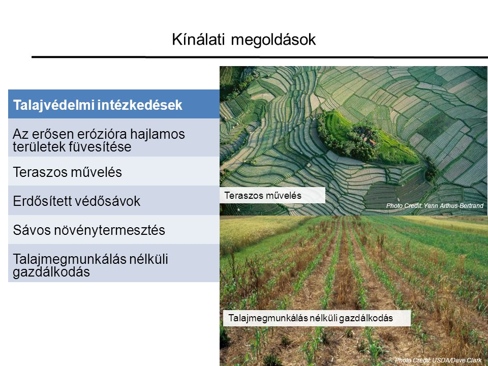 Kínálati megoldások Talajvédelmi intézkedések