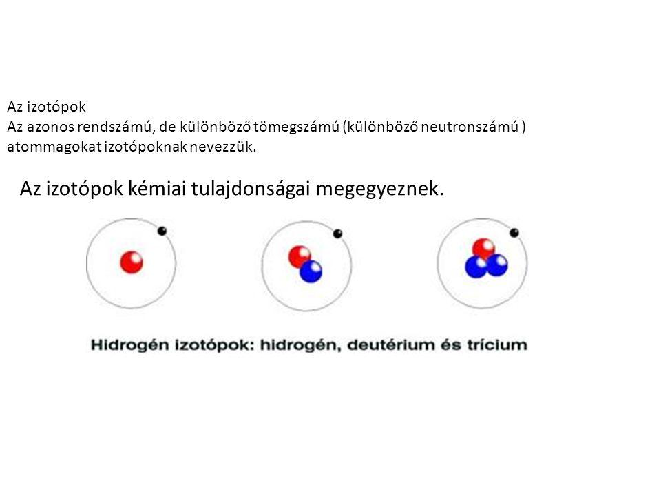 Az izotópok kémiai tulajdonságai megegyeznek.