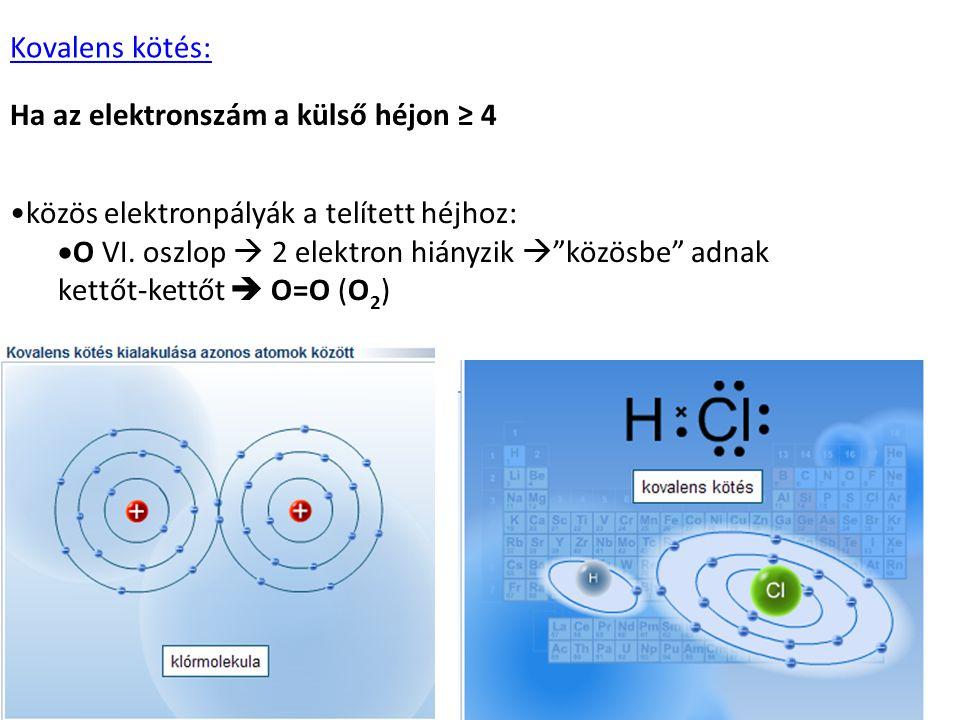Kovalens kötés: Ha az elektronszám a külső héjon ≥ 4. közös elektronpályák a telített héjhoz: