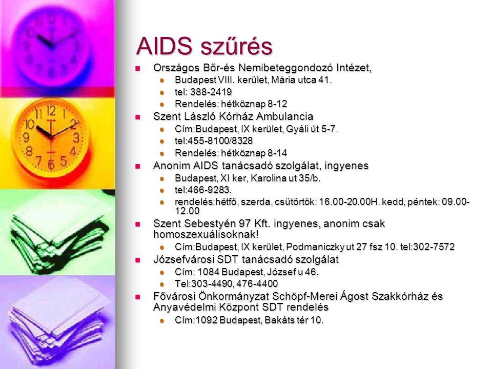 AIDS szűrés Országos Bőr-és Nemibeteggondozó Intézet,