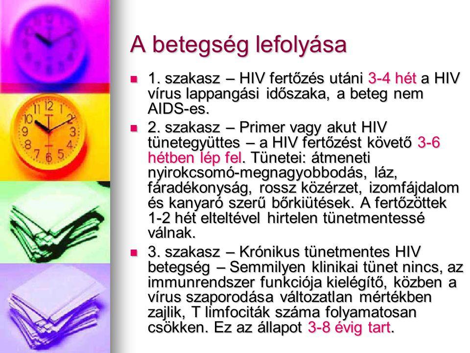 A betegség lefolyása 1. szakasz – HIV fertőzés utáni 3-4 hét a HIV vírus lappangási időszaka, a beteg nem AIDS-es.