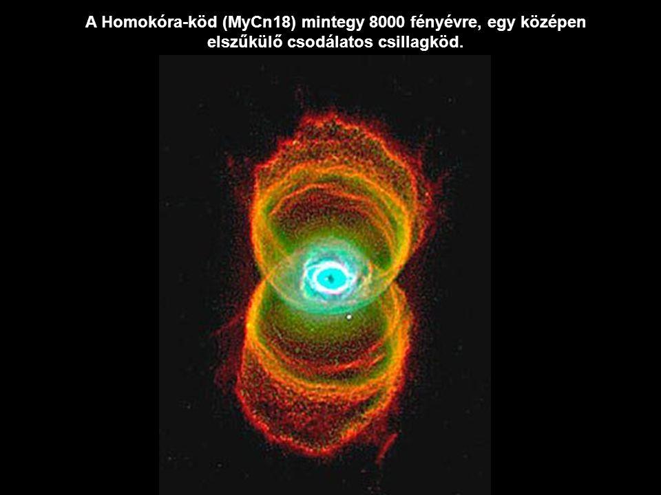 A Homokóra-köd (MyCn18) mintegy 8000 fényévre, egy középen elszűkülő csodálatos csillagköd.