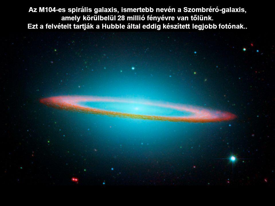 Az M104-es spirális galaxis, ismertebb nevén a Szombréró-galaxis,