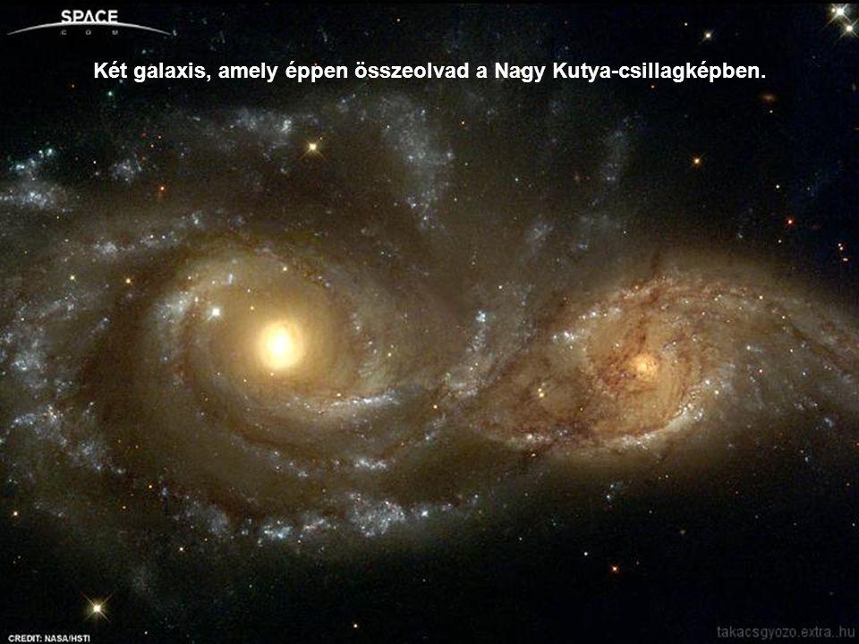 Két galaxis, amely éppen összeolvad a Nagy Kutya-csillagképben.