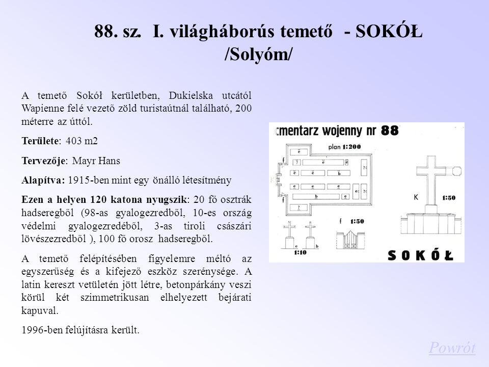 88. sz. I. világháborús temető - SOKÓŁ /Solyóm/