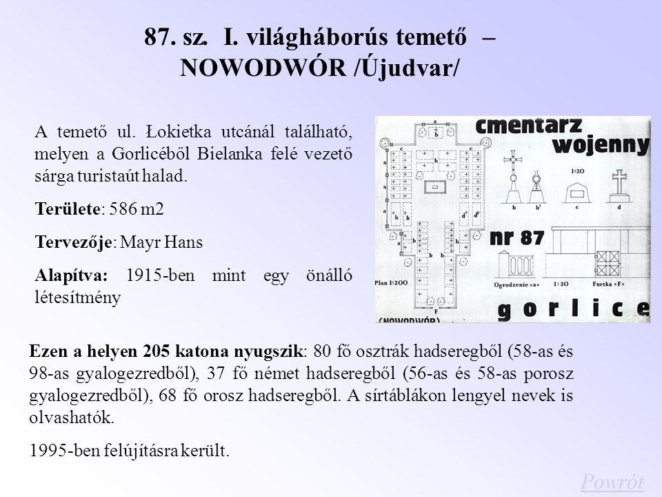 87. sz. I. világháborús temető –NOWODWÓR /Újudvar/