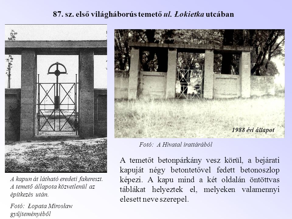 87. sz. első világháborús temető ul. Łokietka utcában