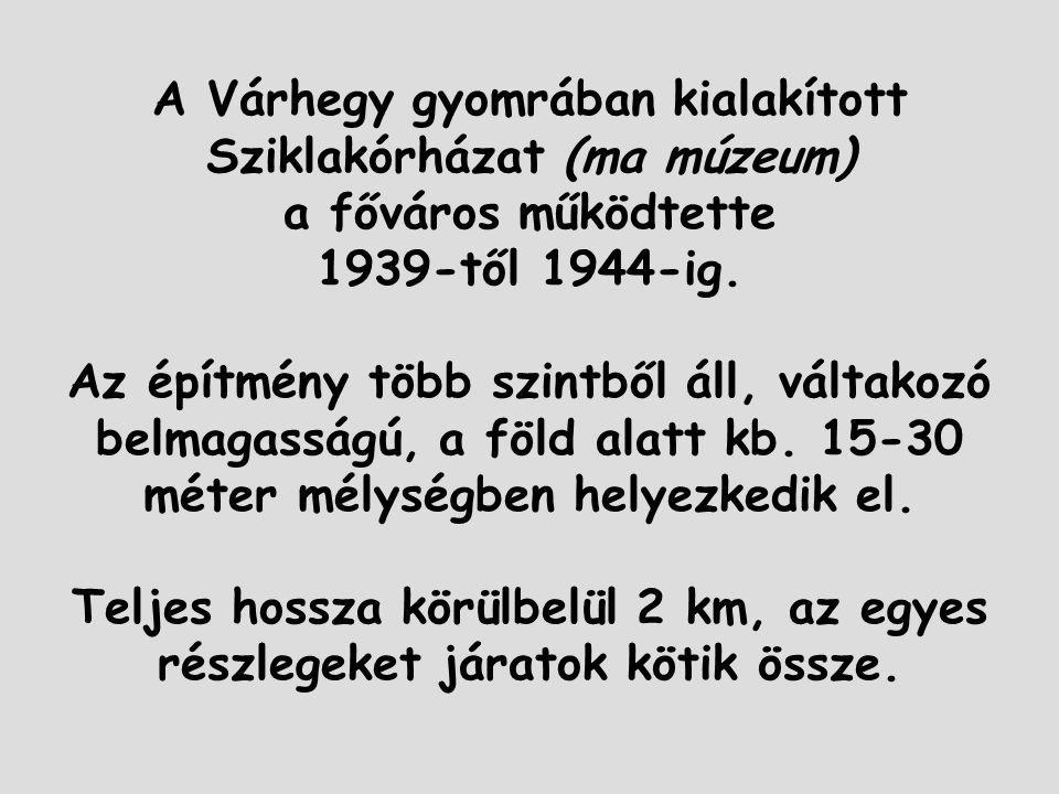 A Várhegy gyomrában kialakított Sziklakórházat (ma múzeum) a főváros működtette 1939-től 1944-ig.