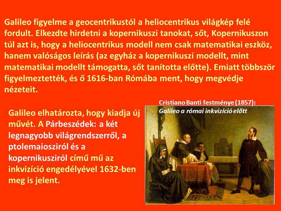 Galileo figyelme a geocentrikustól a heliocentrikus világkép felé fordult. Elkezdte hirdetni a kopernikuszi tanokat, sőt, Kopernikuszon túl azt is, hogy a heliocentrikus modell nem csak matematikai eszköz, hanem valóságos leírás (az egyház a kopernikuszi modellt, mint matematikai modellt támogatta, sőt tanította előtte). Emiatt többször figyelmeztették, és ő 1616-ban Rómába ment, hogy megvédje nézeteit.