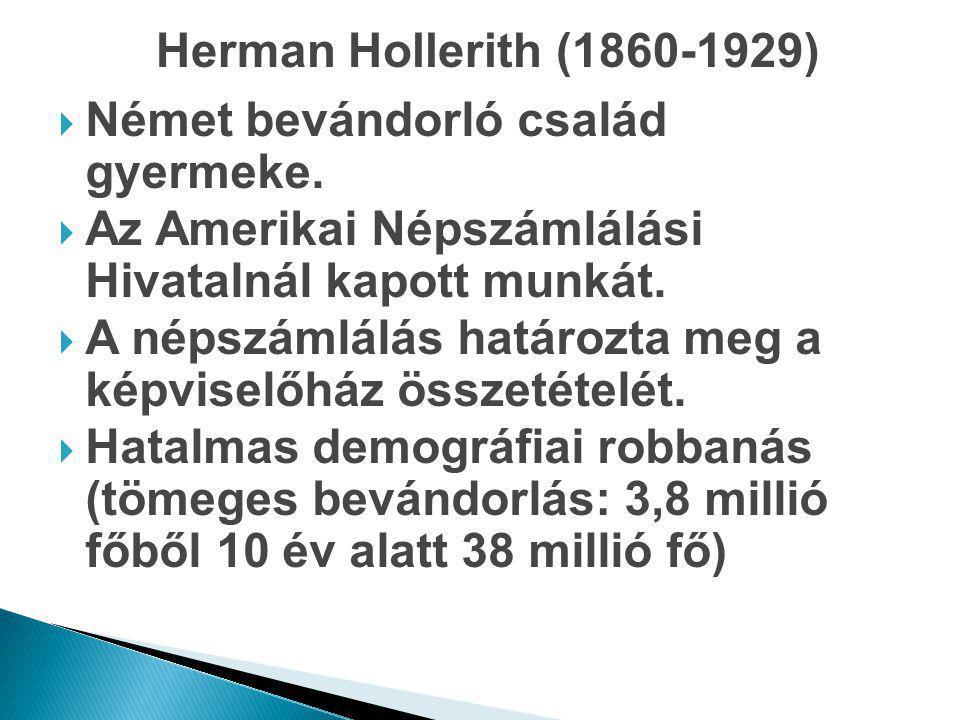 Herman Hollerith (1860-1929) Német bevándorló család gyermeke. Az Amerikai Népszámlálási Hivatalnál kapott munkát.