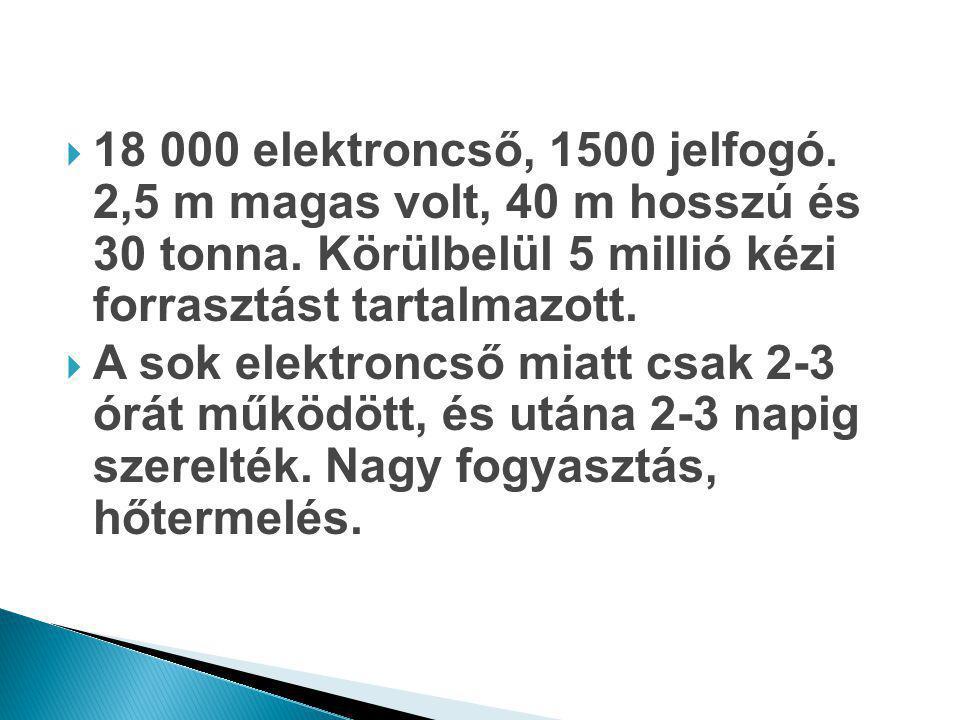 18 000 elektroncső, 1500 jelfogó. 2,5 m magas volt, 40 m hosszú és 30 tonna. Körülbelül 5 millió kézi forrasztást tartalmazott.
