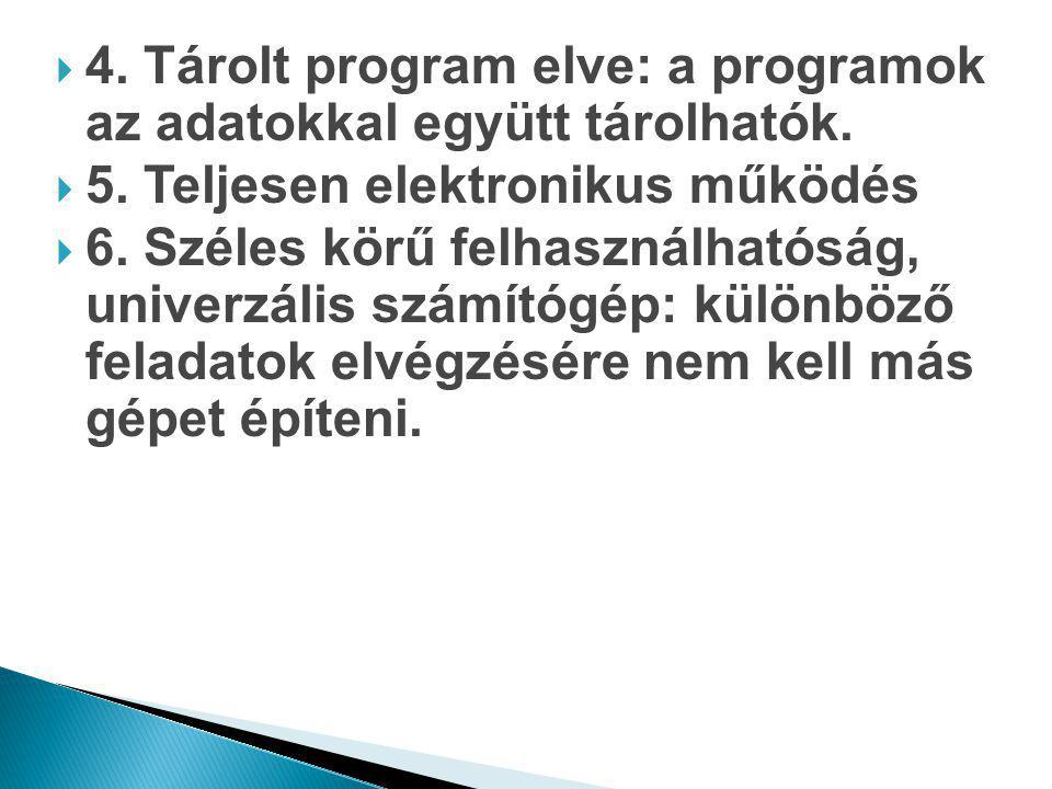 4. Tárolt program elve: a programok az adatokkal együtt tárolhatók.