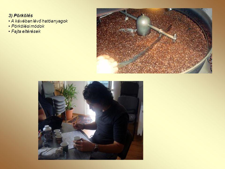 3) Pörkölés • A kávéban lévő hatóanyagok • Pörkölési módok • Fajta eltérések