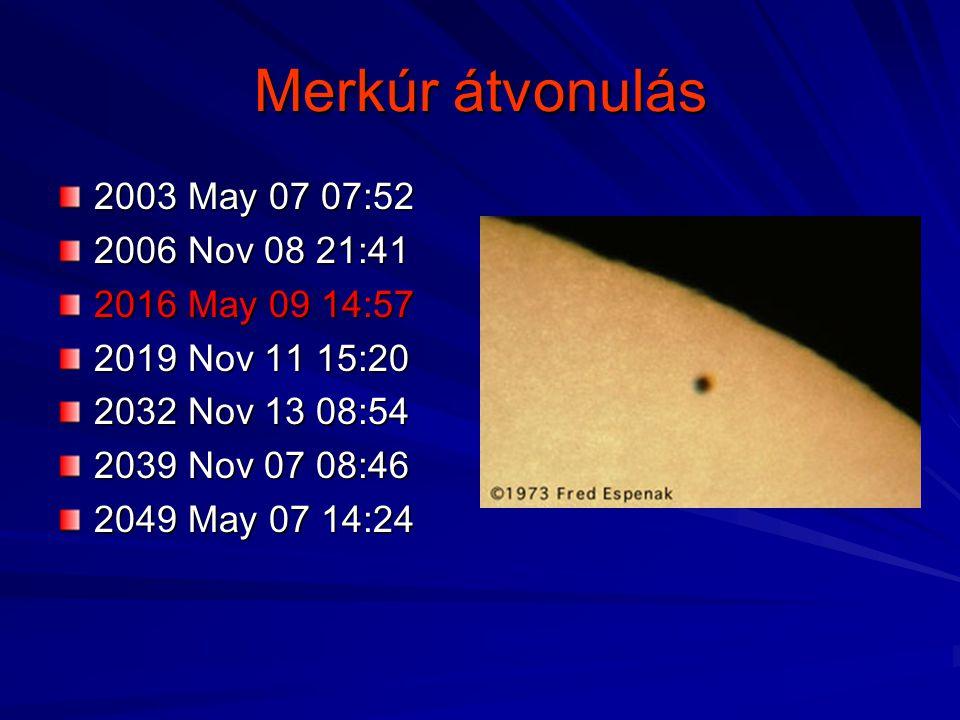 Merkúr átvonulás 2003 May 07 07:52 2006 Nov 08 21:41 2016 May 09 14:57
