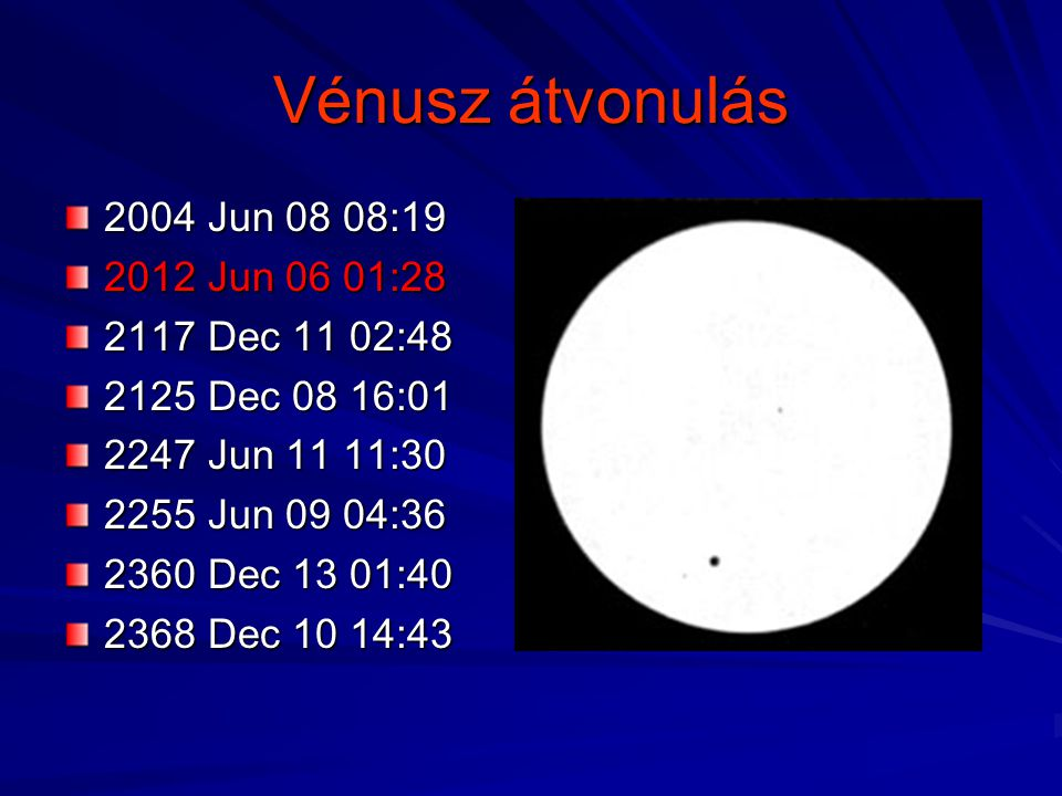 Vénusz átvonulás 2004 Jun 08 08:19 2012 Jun 06 01:28 2117 Dec 11 02:48