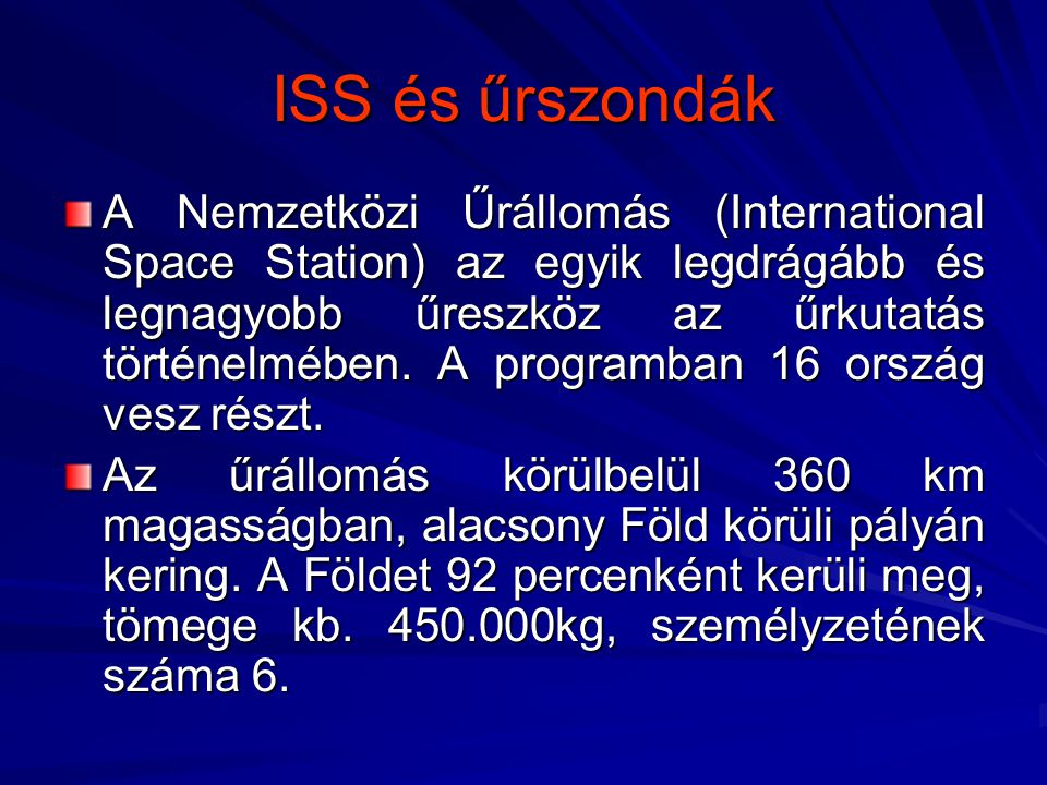 ISS és űrszondák