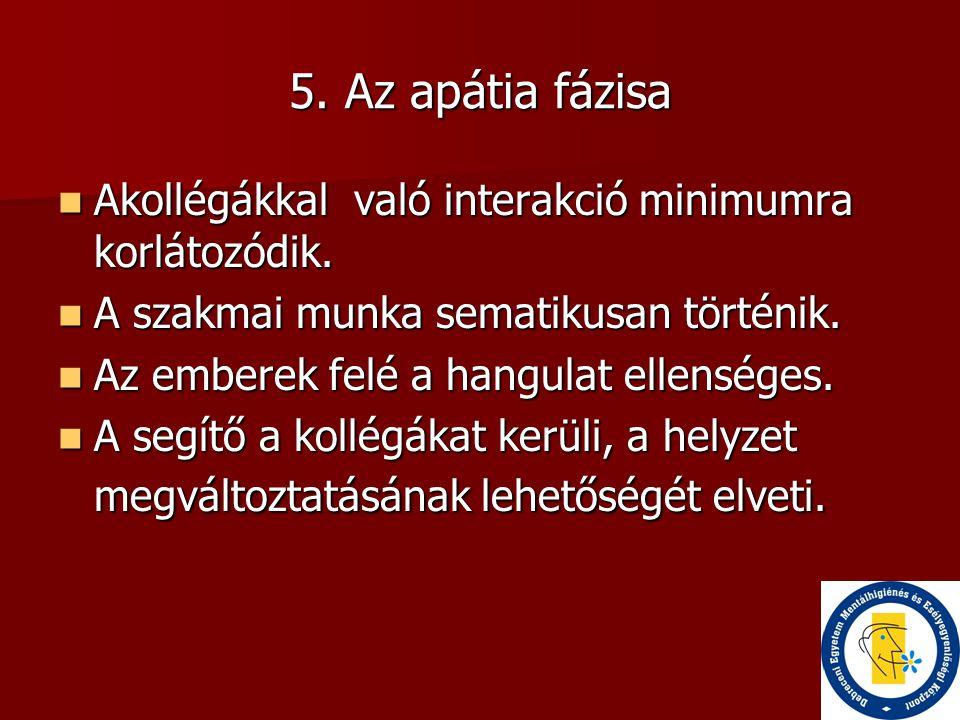 5. Az apátia fázisa Akollégákkal való interakció minimumra korlátozódik. A szakmai munka sematikusan történik.