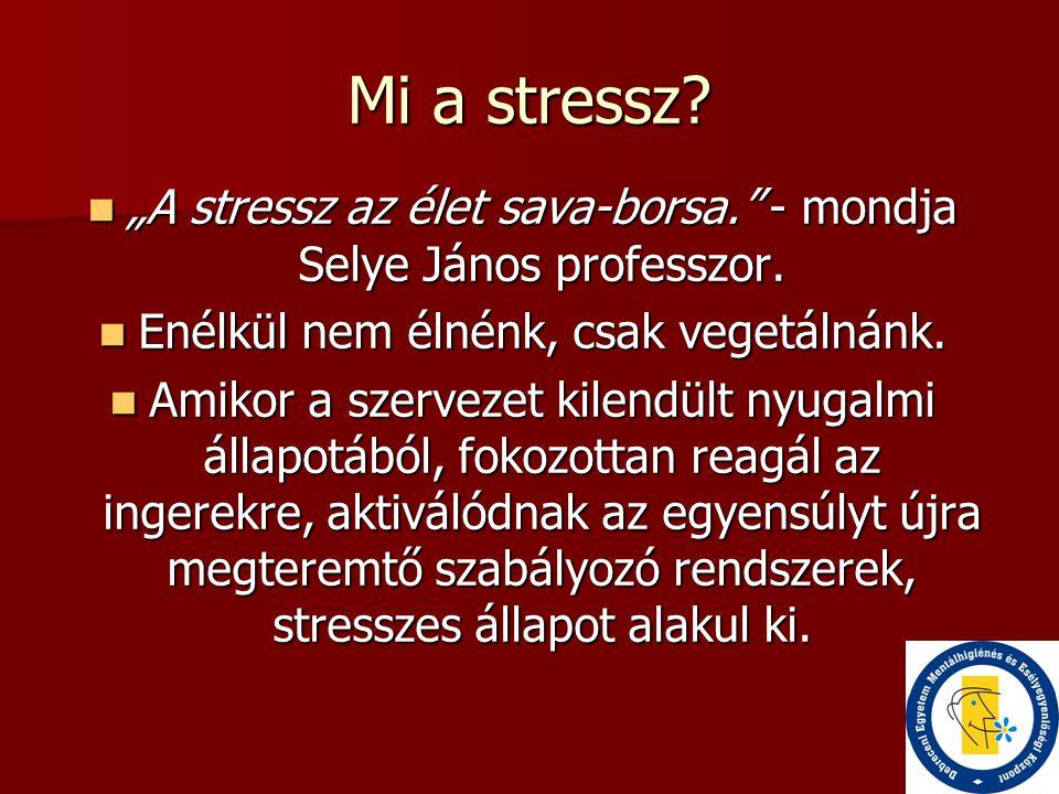 """Mi a stressz """"A stressz az élet sava-borsa. - mondja Selye János professzor. Enélkül nem élnénk, csak vegetálnánk."""