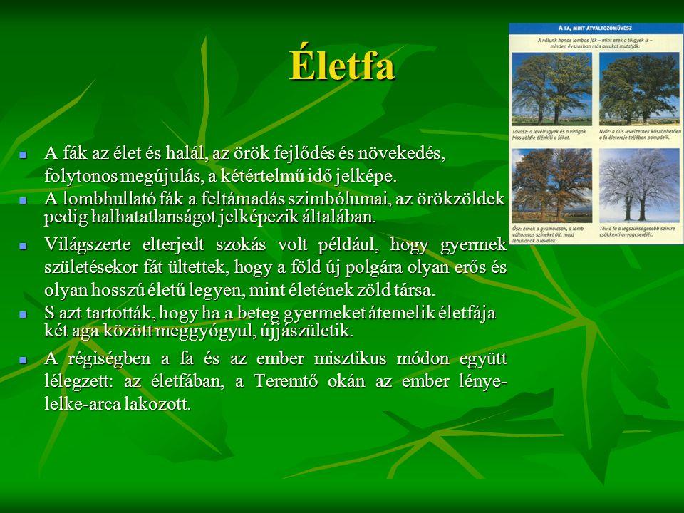 Életfa A fák az élet és halál, az örök fejlődés és növekedés, folytonos megújulás, a kétértelmű idő jelképe.