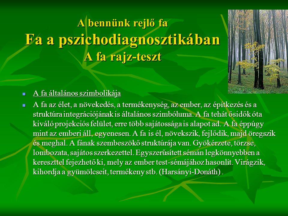 A bennünk rejlő fa Fa a pszichodiagnosztikában A fa rajz-teszt