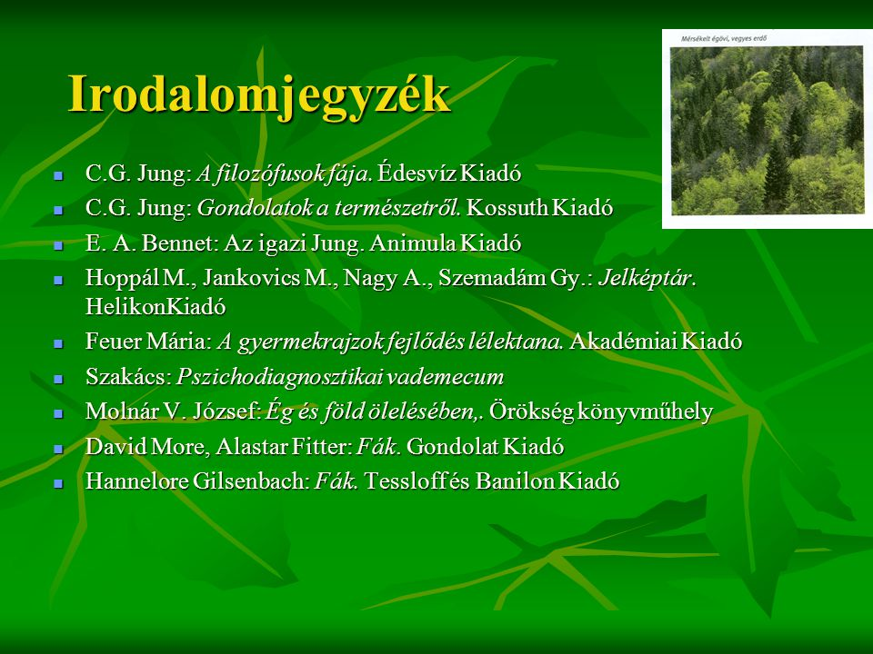 Irodalomjegyzék C.G. Jung: A filozófusok fája. Édesvíz Kiadó