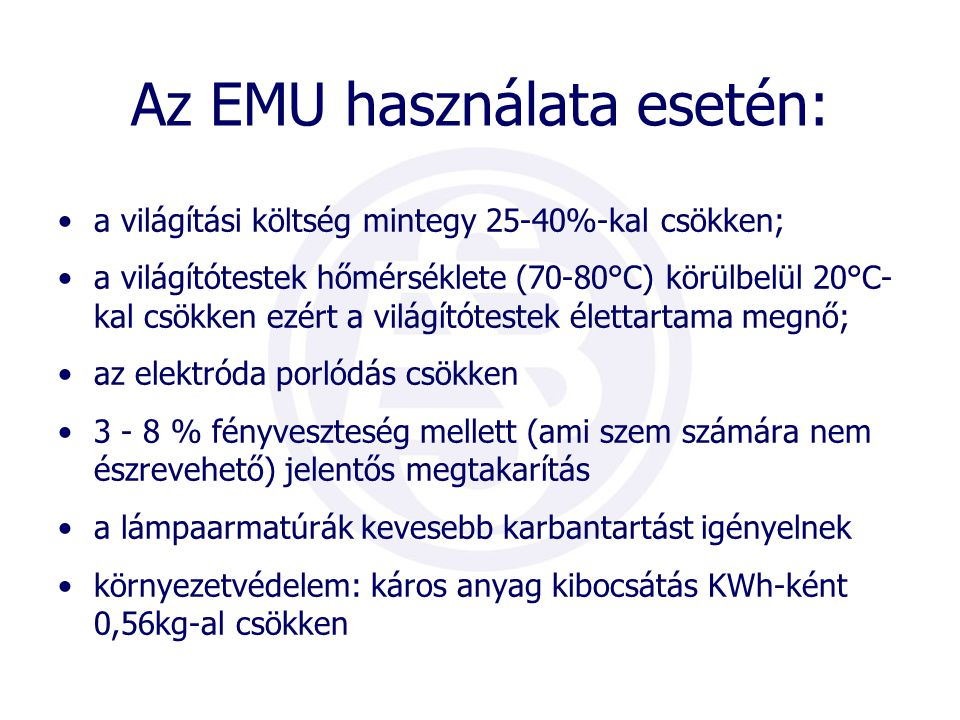 Az EMU használata esetén: