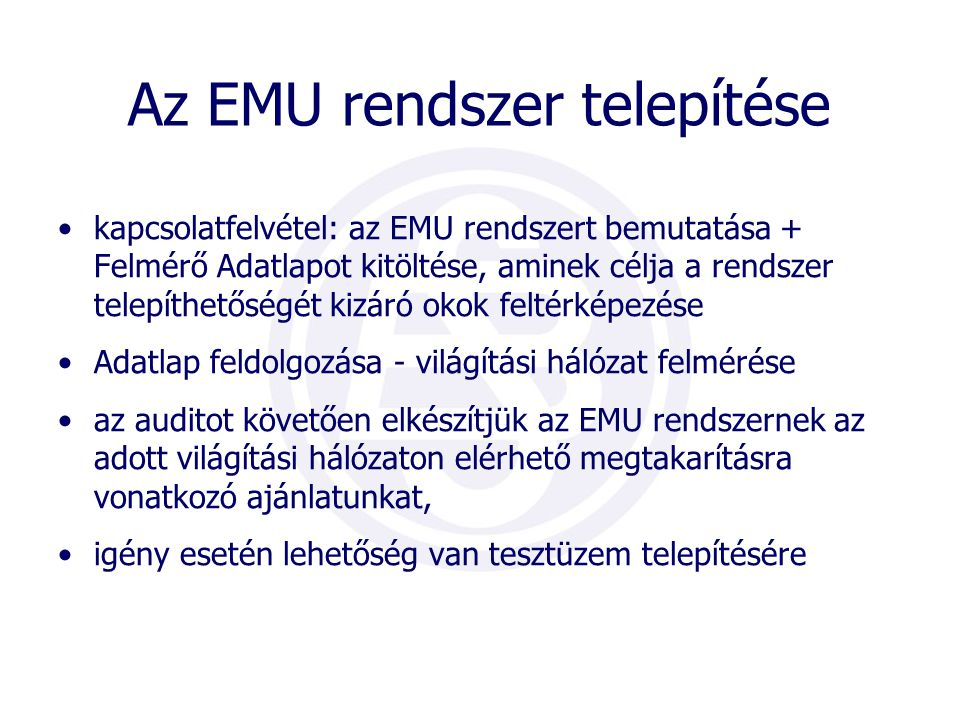 Az EMU rendszer telepítése