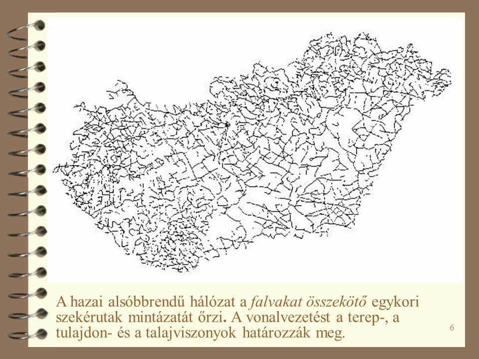 A hazai alsóbbrendű hálózat a falvakat összekötő egykori szekérutak mintázatát őrzi.
