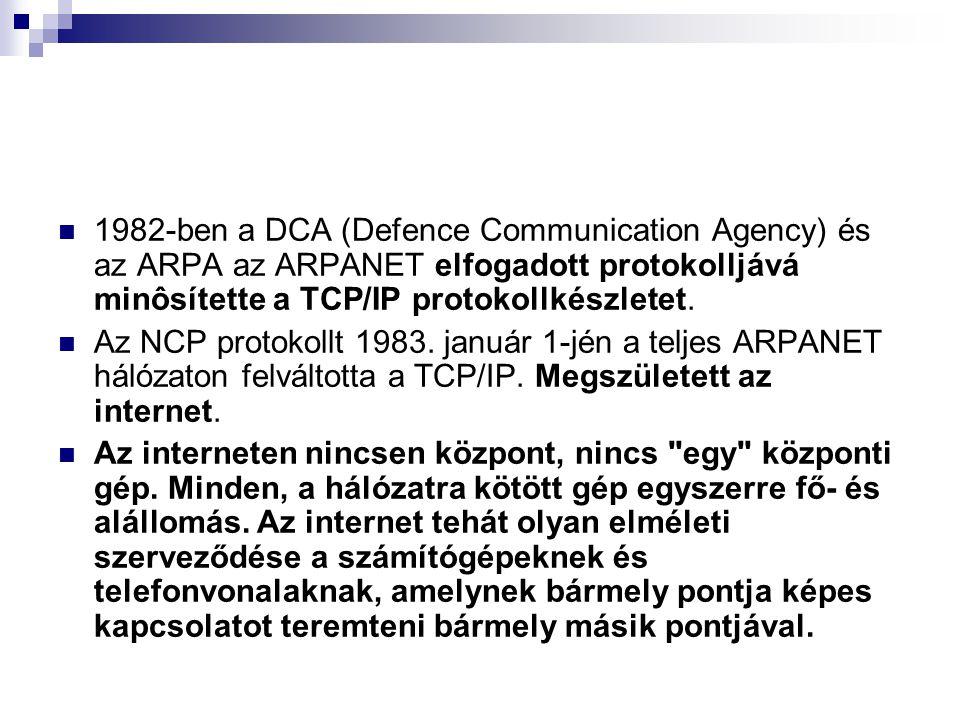 1982-ben a DCA (Defence Communication Agency) és az ARPA az ARPANET elfogadott protokolljává minôsítette a TCP/IP protokollkészletet.