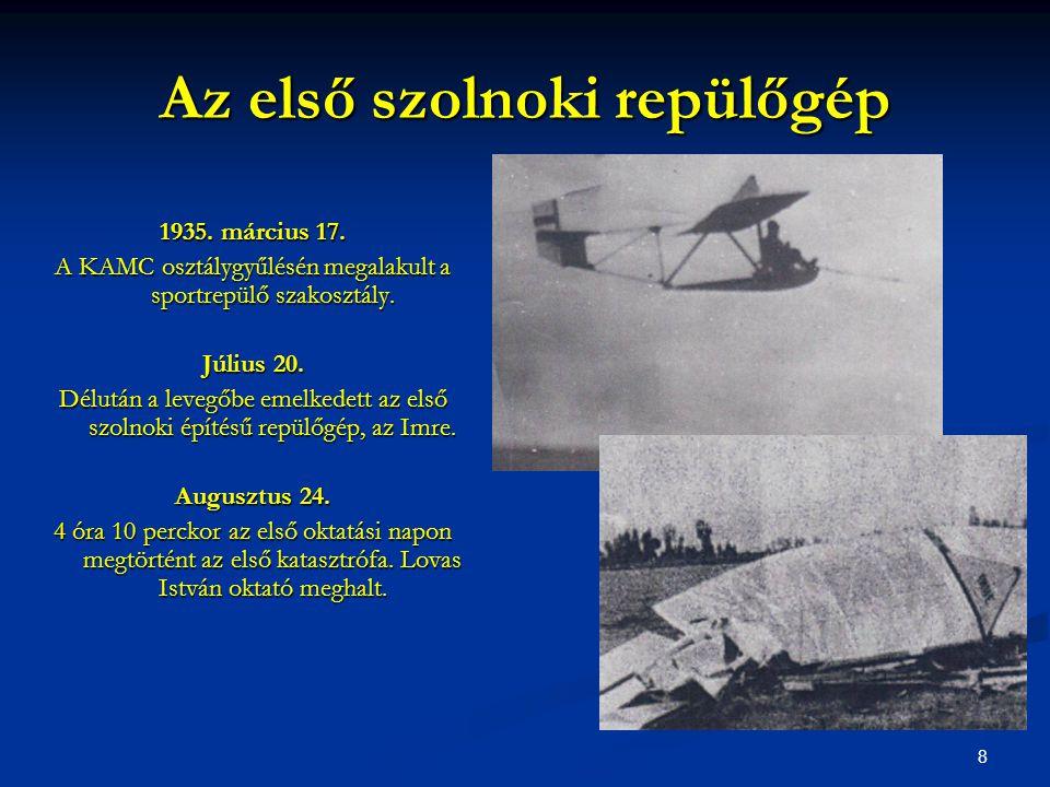 Az első szolnoki repülőgép