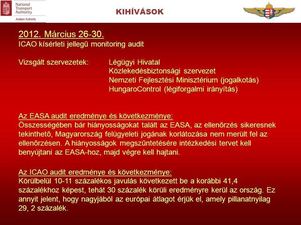 2012. Március 26-30. KIHÍVÁSOK ICAO kísérleti jellegű monitoring audit