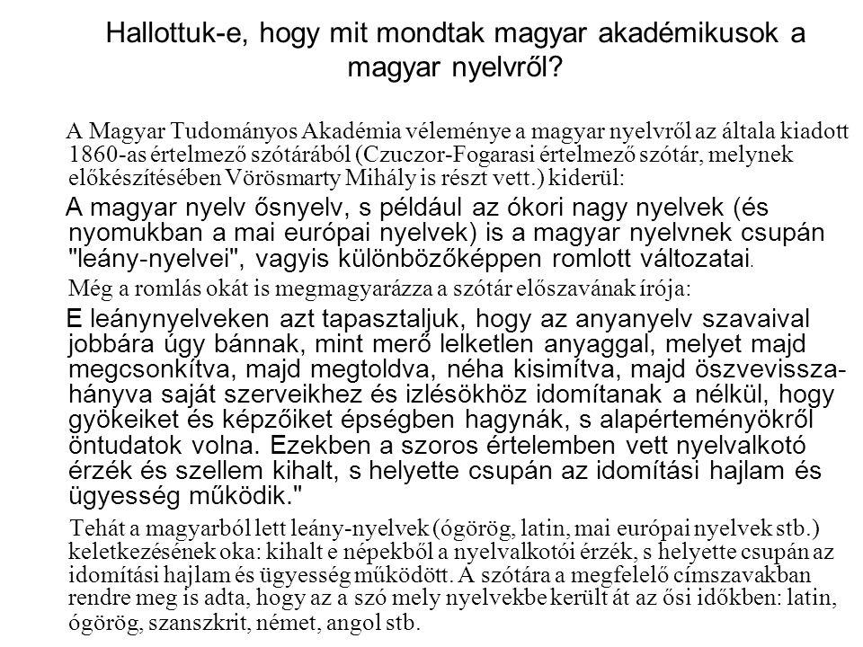 Hallottuk-e, hogy mit mondtak magyar akadémikusok a magyar nyelvről