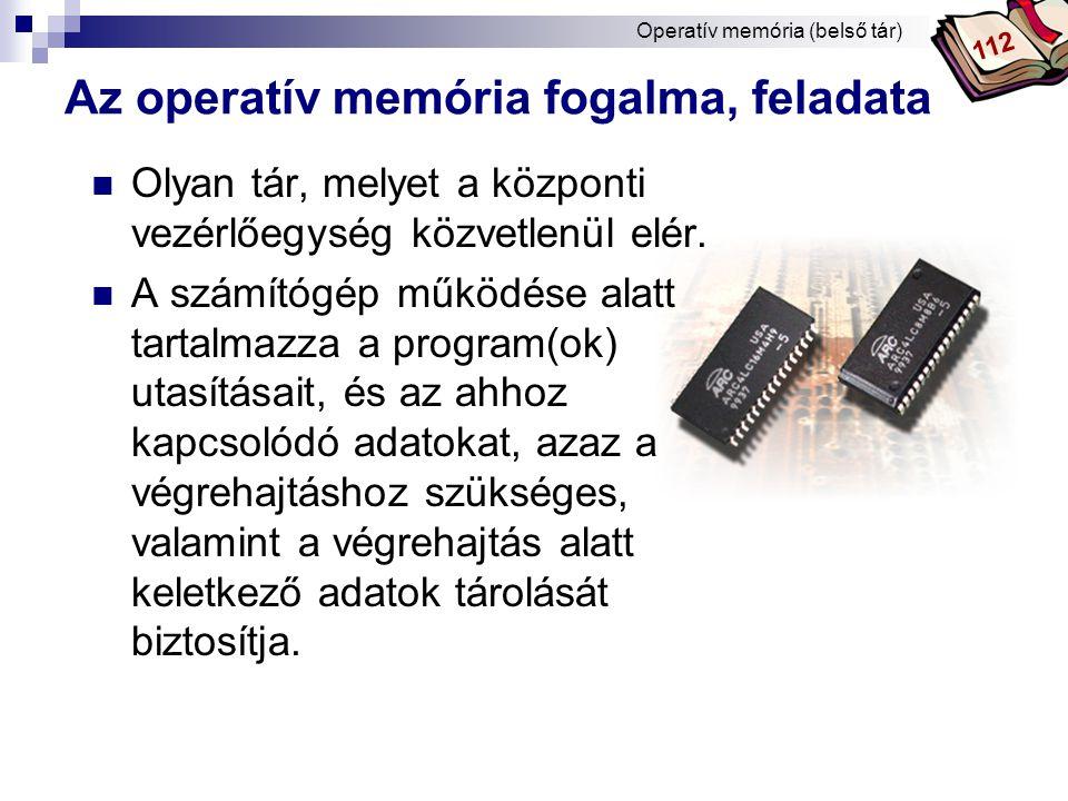 Az operatív memória fogalma, feladata
