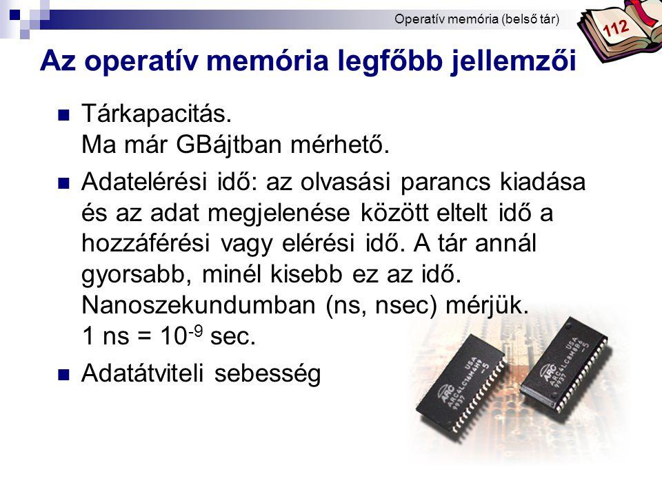 Az operatív memória legfőbb jellemzői
