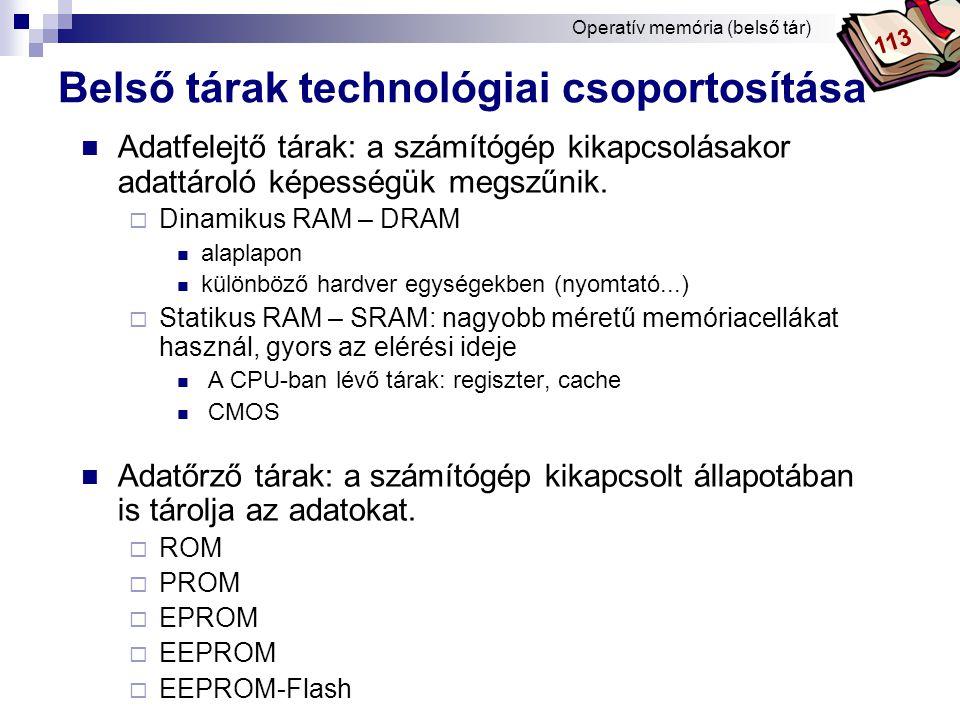 Belső tárak technológiai csoportosítása