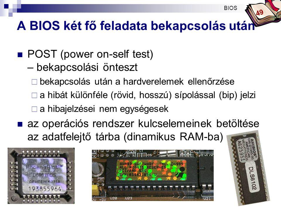 A BIOS két fő feladata bekapcsolás után