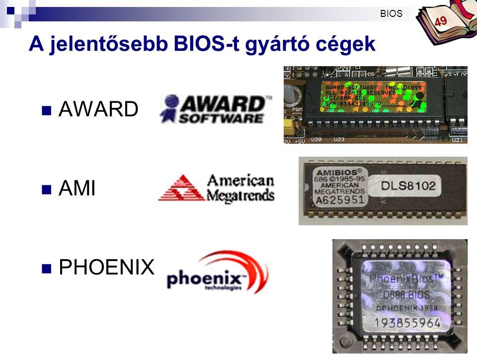A jelentősebb BIOS-t gyártó cégek
