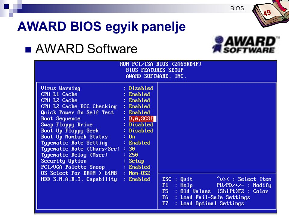 AWARD BIOS egyik panelje
