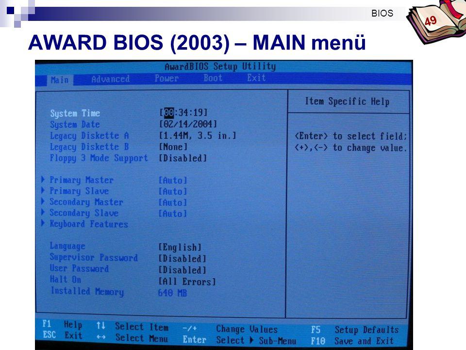 AWARD BIOS (2003) – MAIN menü