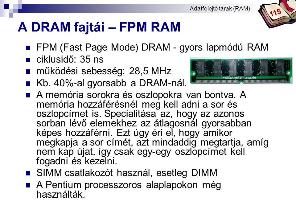 A DRAM fajtái – FPM RAM FPM (Fast Page Mode) DRAM - gyors lapmódú RAM