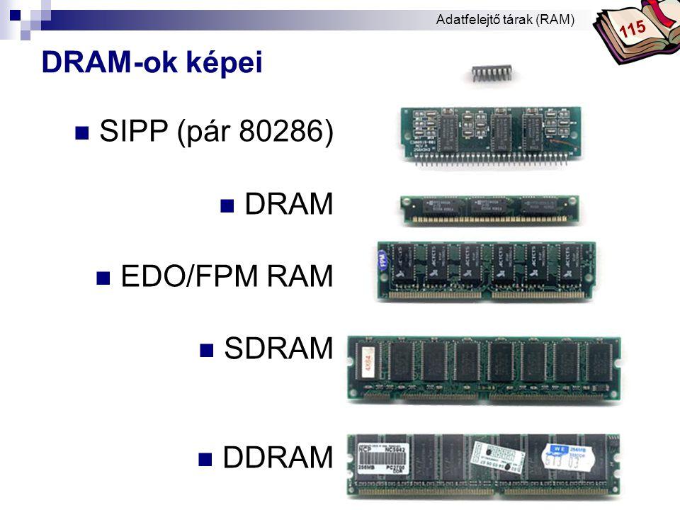 DRAM-ok képei SIPP (pár 80286) DRAM EDO/FPM RAM SDRAM DDRAM 115