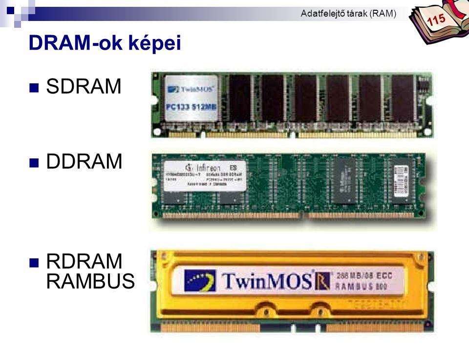 DRAM-ok képei SDRAM DDRAM RDRAM RAMBUS 115 Adatfelejtő tárak (RAM)