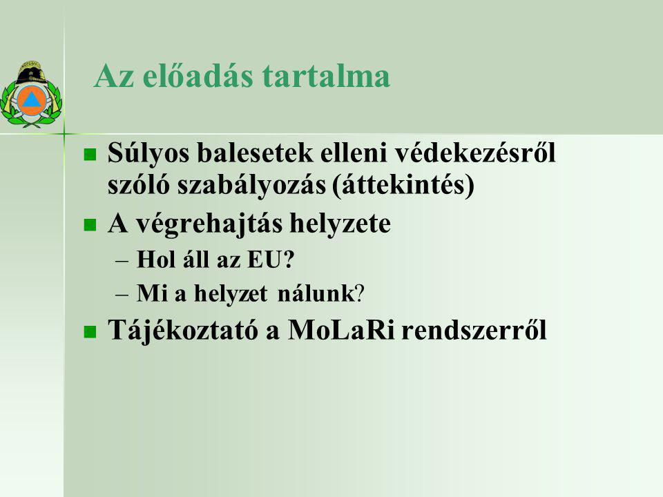 Az előadás tartalma Súlyos balesetek elleni védekezésről szóló szabályozás (áttekintés) A végrehajtás helyzete.